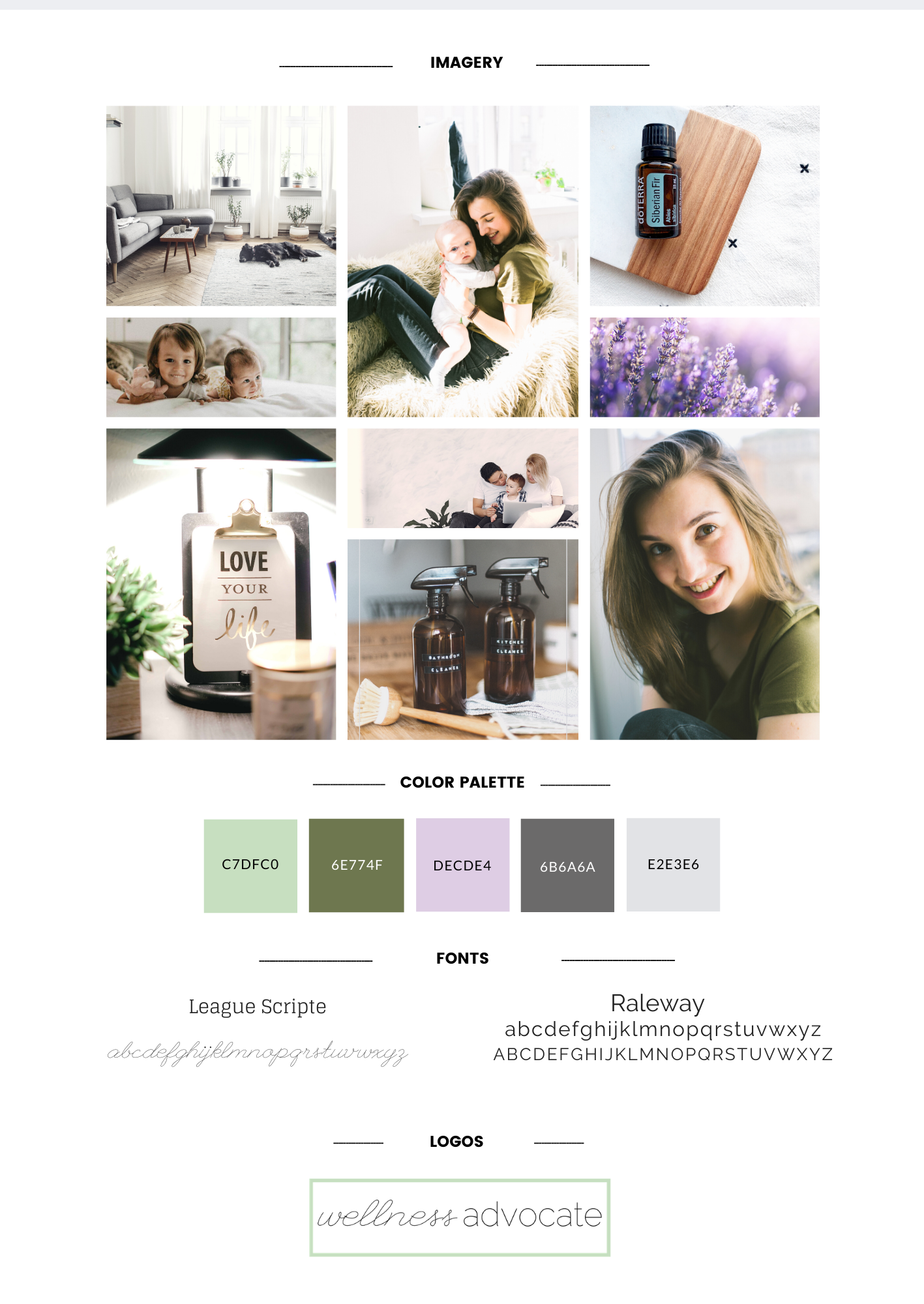 A brand board for an online entrepreneur, incorporating the basic visual aspects of their brand. This includes the images or graphics, colors palette, fonts, and logo.