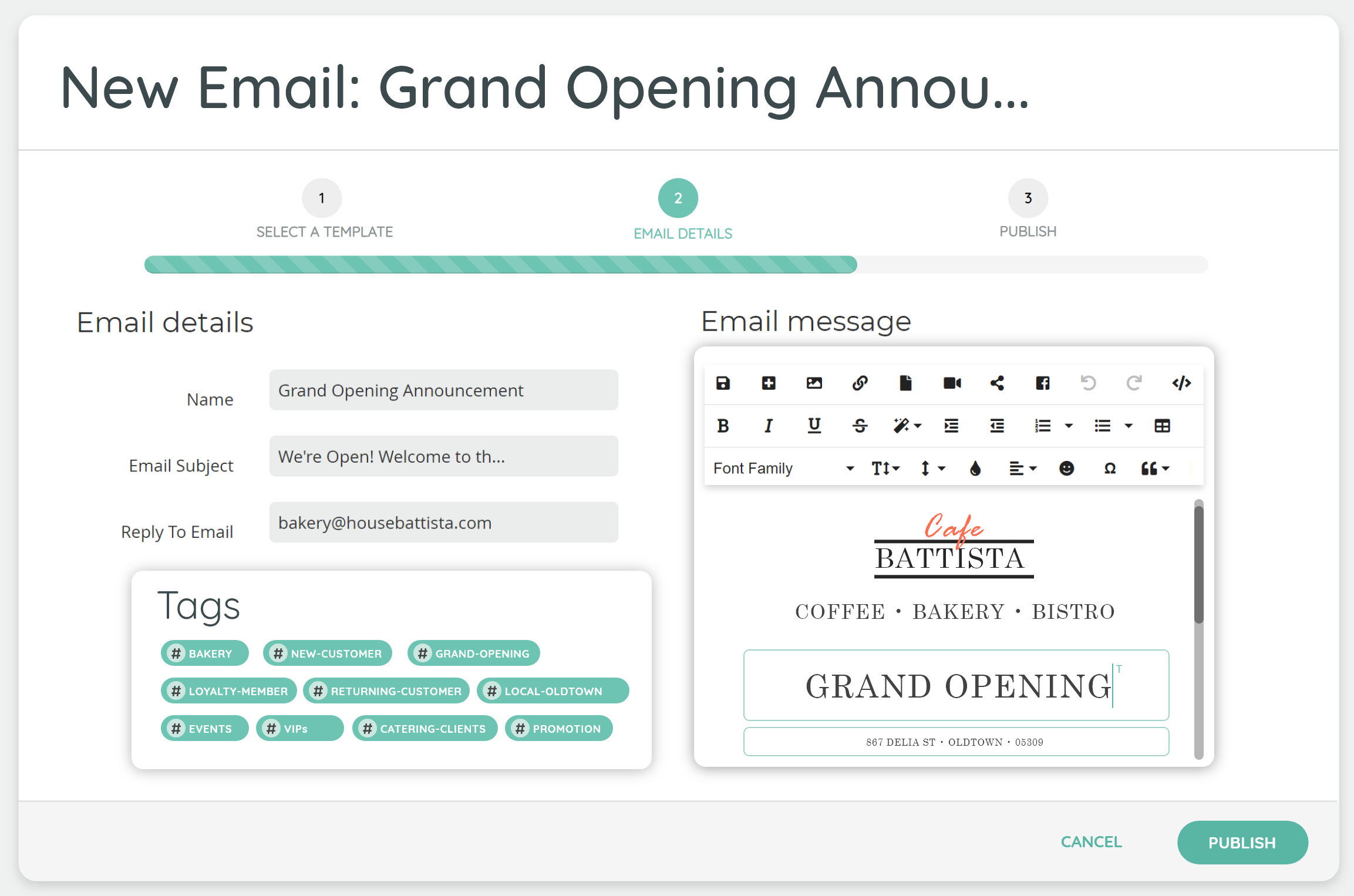 Design and schedule custom email campaigns. Send out one-off announcements, create regular newsletters, or set up emails to trigger automatically when users visit your landing pages.