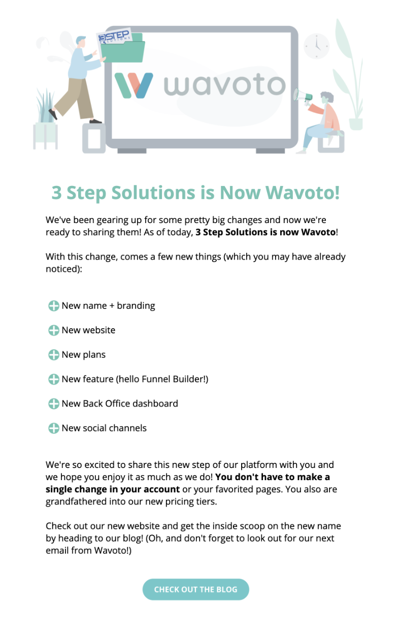 Wavoto put together a HTML email to announce their new launch.