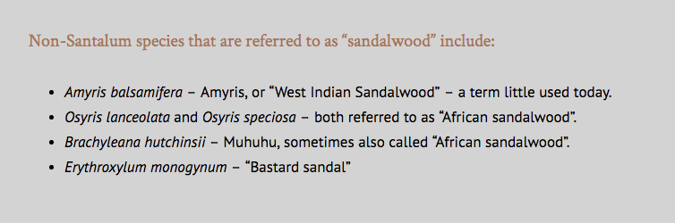 Indian Sandalwood and Hawaiian Sandalwood
