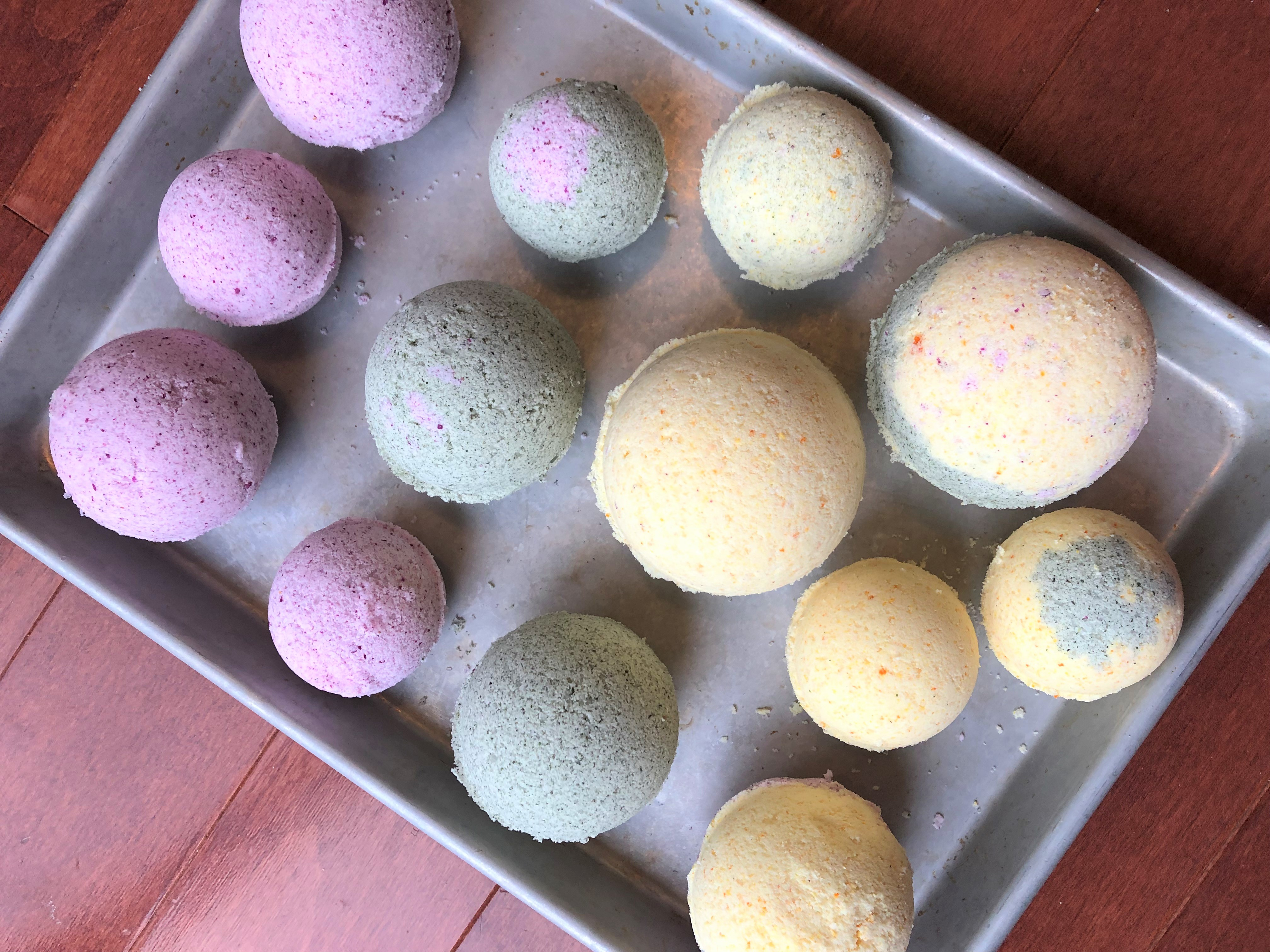 homemade bath bombs with plant-derived pigments