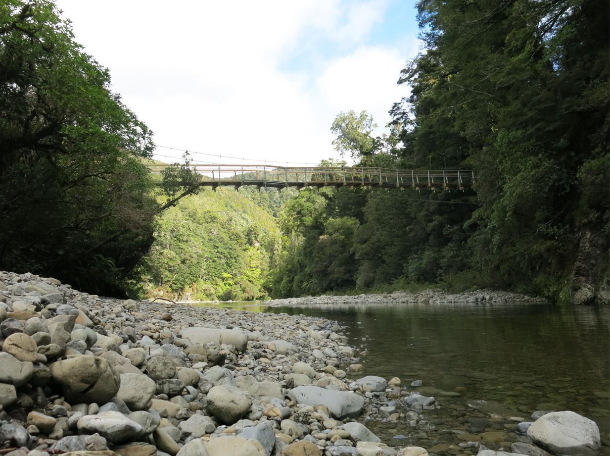 View of the new Kaitoke Suspension Bridge over the Hutt River