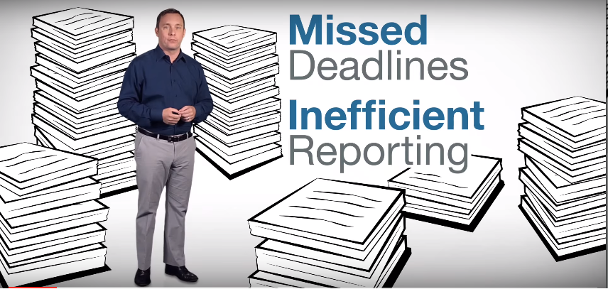 """A man stands among piles of papers. The caption reads """"Missed deadlines. Inefficient reporting""""."""